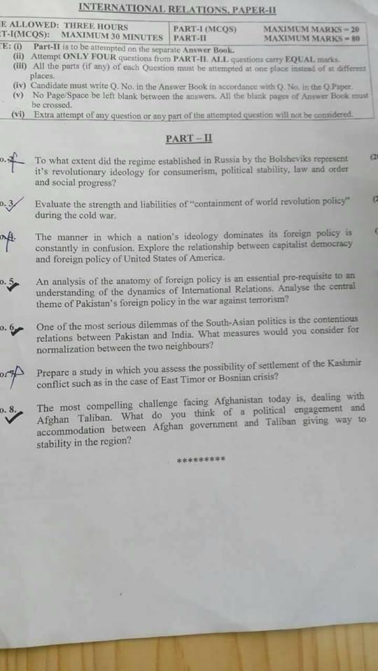 Interantional Relations CSS 2018 Paper II