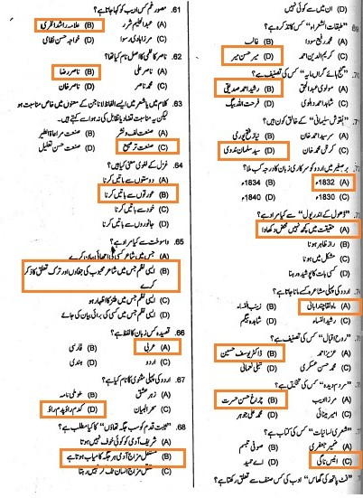 Lecturer Urdu PPSC Solved Past Papers