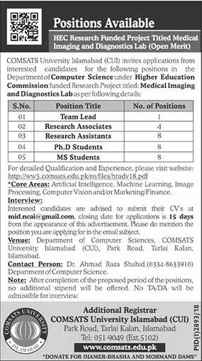 COMSATS University Islamabad 28 Dec 2018 Jobs
