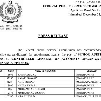 FPSC Senior Auditor Controller General of Accounts Police Final Result Announced