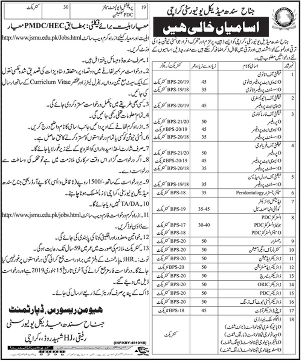 Jinnah Sindh Medical University 30 December 2018 Jobs