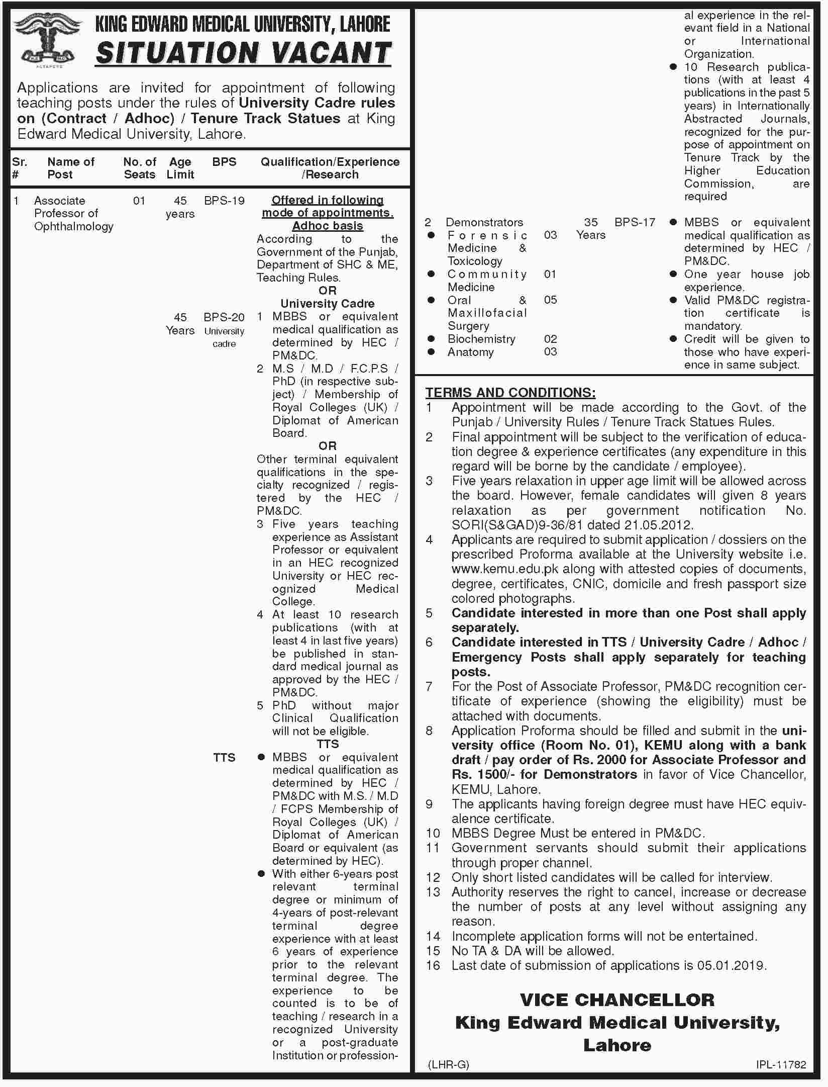 King Edward Medical University Lahore KEMU 28 Dec 2018 Jobs