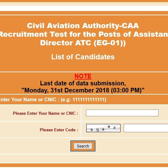 List of the shortlisted Candidates Assistant Director ATC