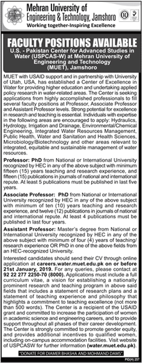 Mehran University Of Engineering And Technology 30 Dec 2018 Jobs