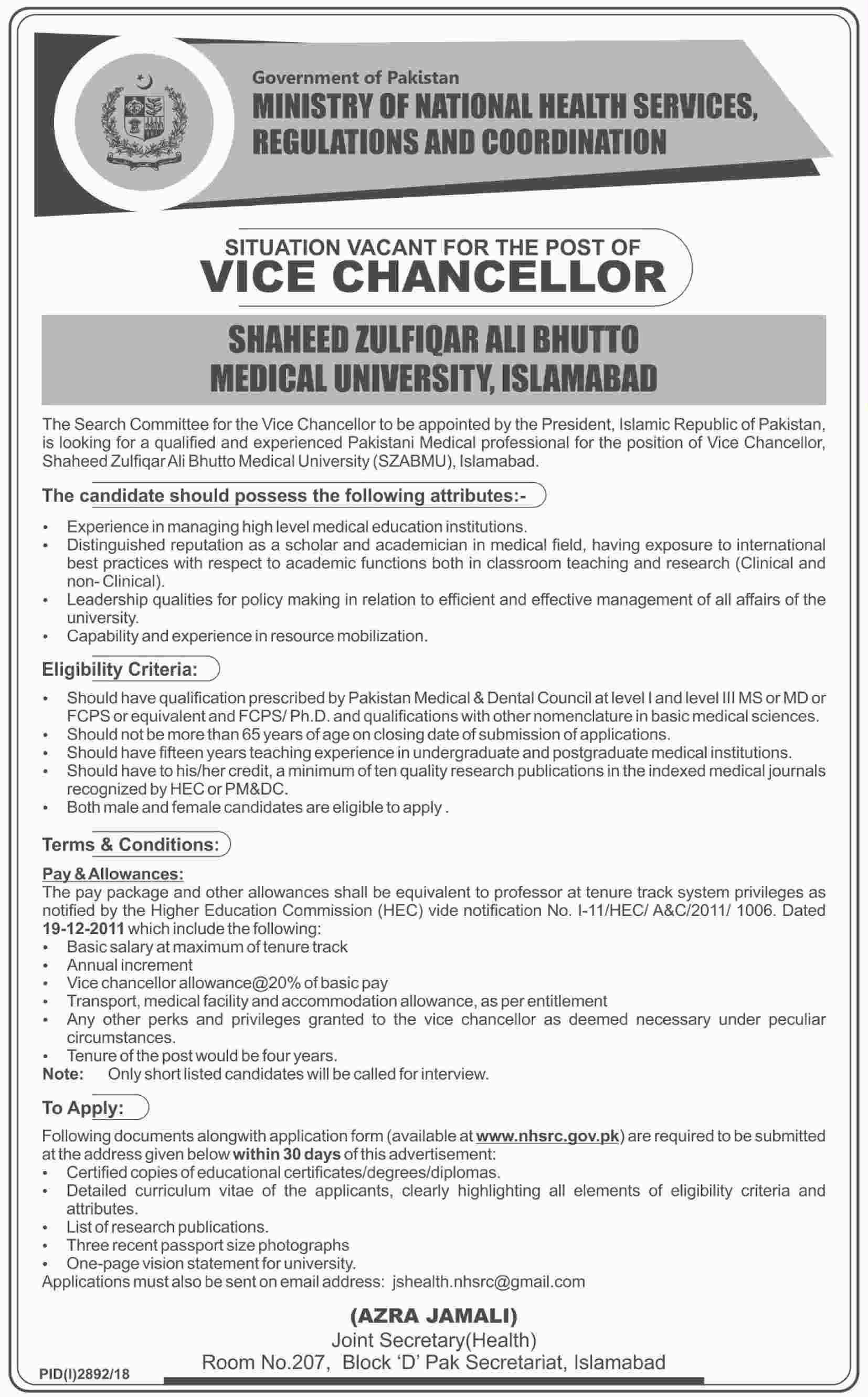 Ministry Of National Health Services Regulations 31 Dec 2018 Jobs