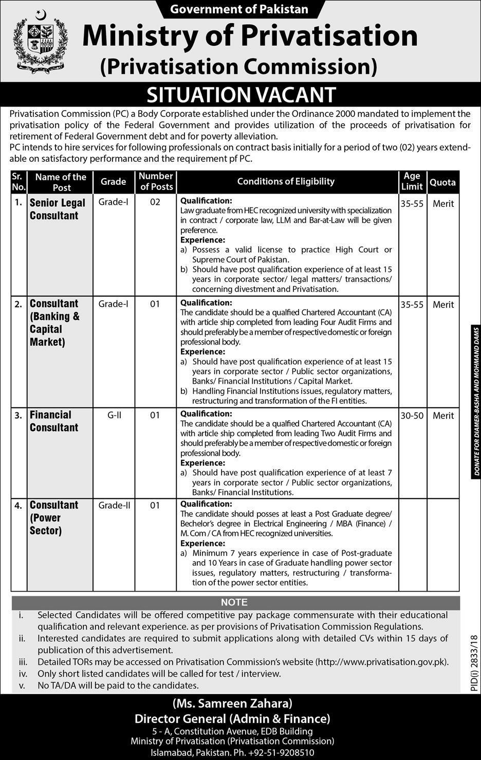 Ministry Of Privatisation Govt Of Pakistan 25 Dec 2018 Jobs