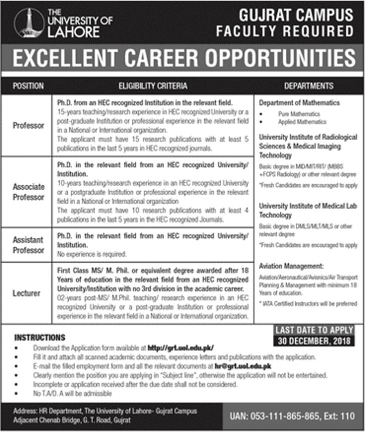 The University Of Lahore UOL, Gujrat Campus 25 Dec 2018 Jobs