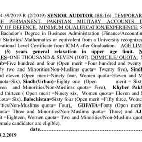 FPSC Senior Auditor Military Account Jobs 2019