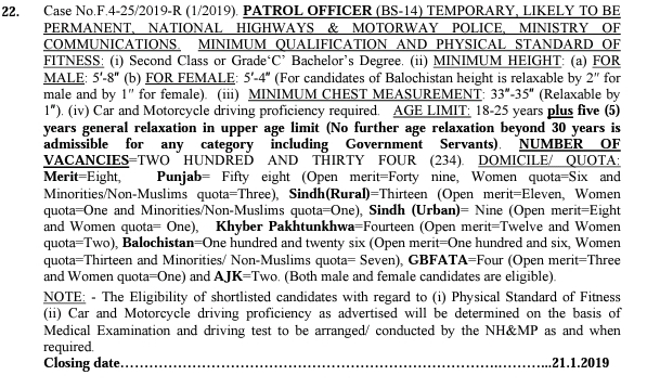 FPSC Latest Jobs of Patrol Officer in Motorway Police 2019 Advertisement