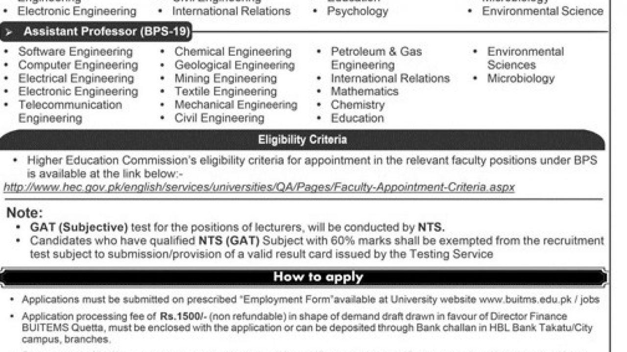 BUITEMS Jobs 2019 Faculty Positions Appy Online – Prepistan Jobs