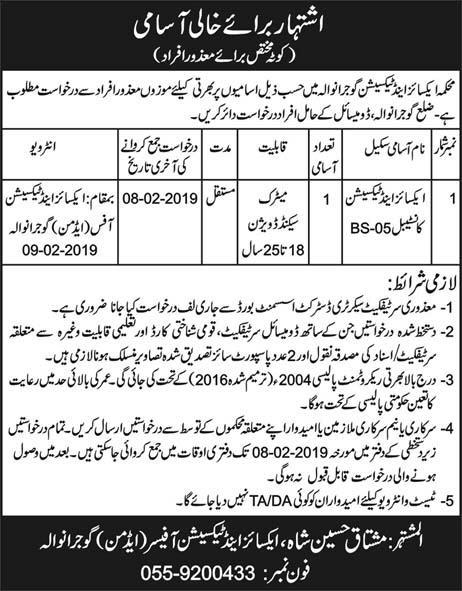 Excise And Taxation Department 29 Jan 2019 Jobs