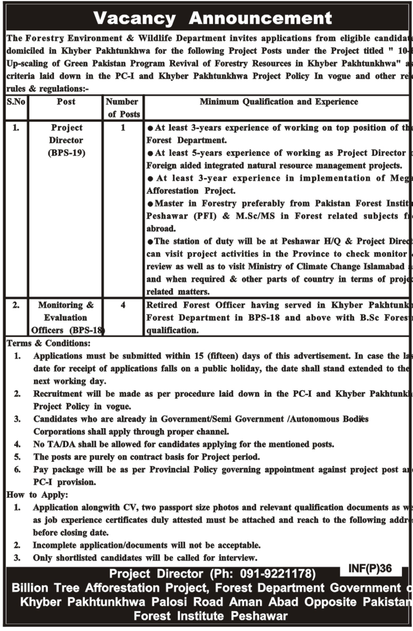 Forestry Environment And Wildlife Department 03 Jan 2019 Jobs