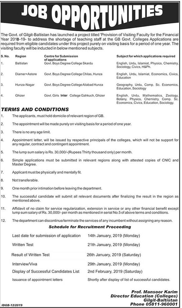 Govt Of Gilgit Baltistan Announced Latest Jobs 08 Jan 2019 Jobs