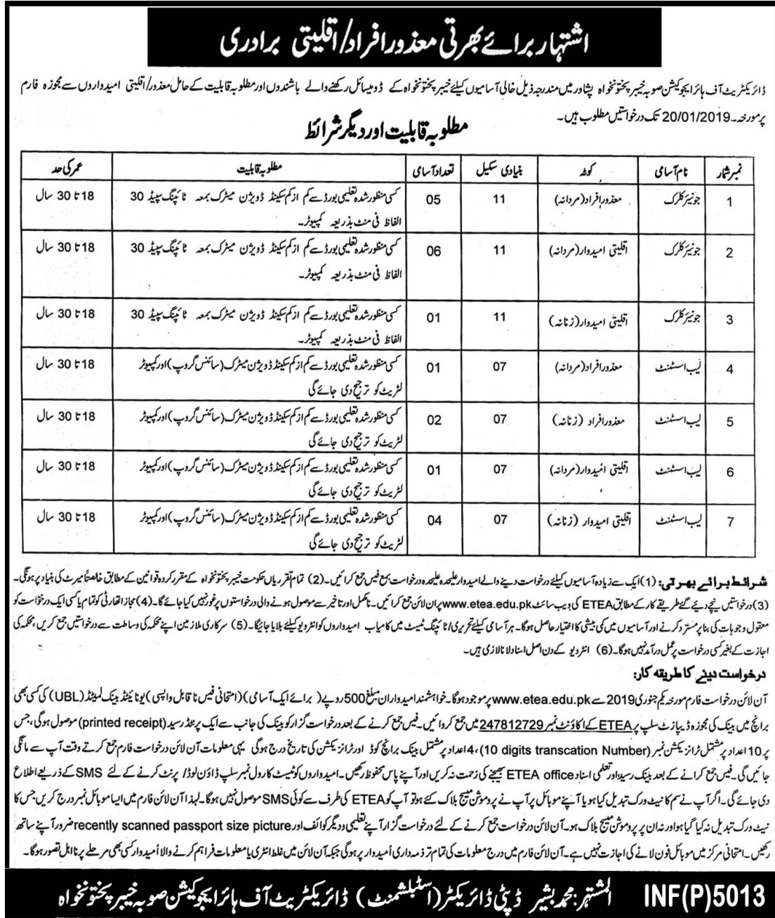Higher Education Department 01 Jan 2018 Jobs