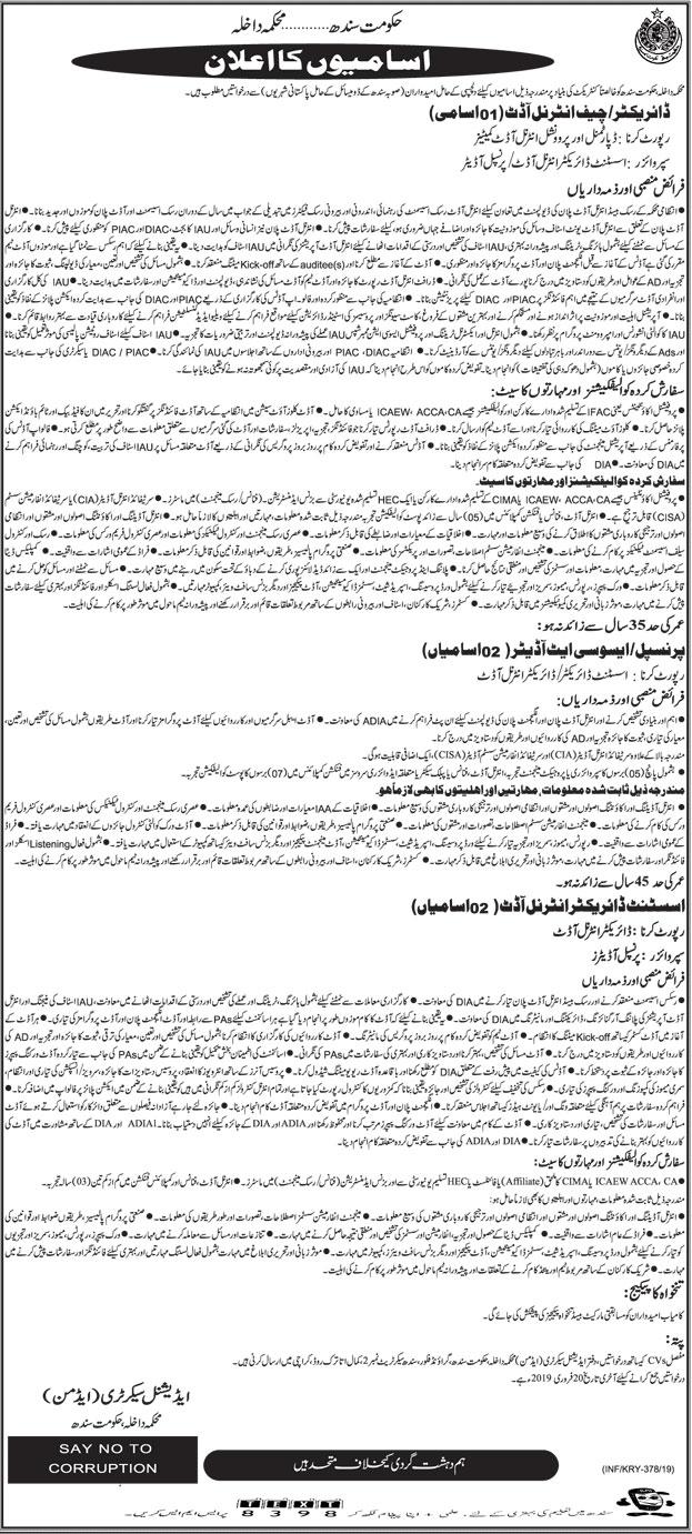 Home Department Govt Of Sindh 29 Jan 2019 Jobs