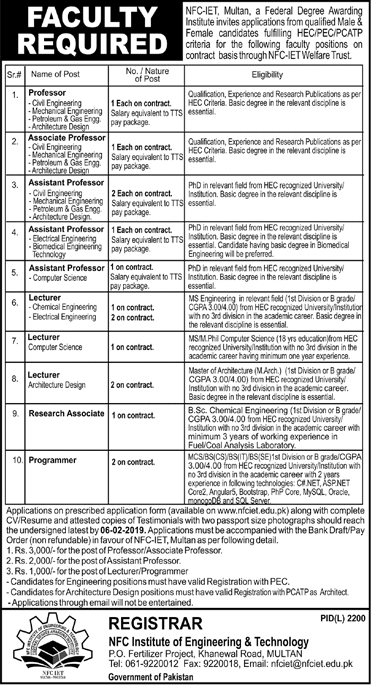 NFC Institute Of Engineering And Technology 20 Jan 2019 Jobs