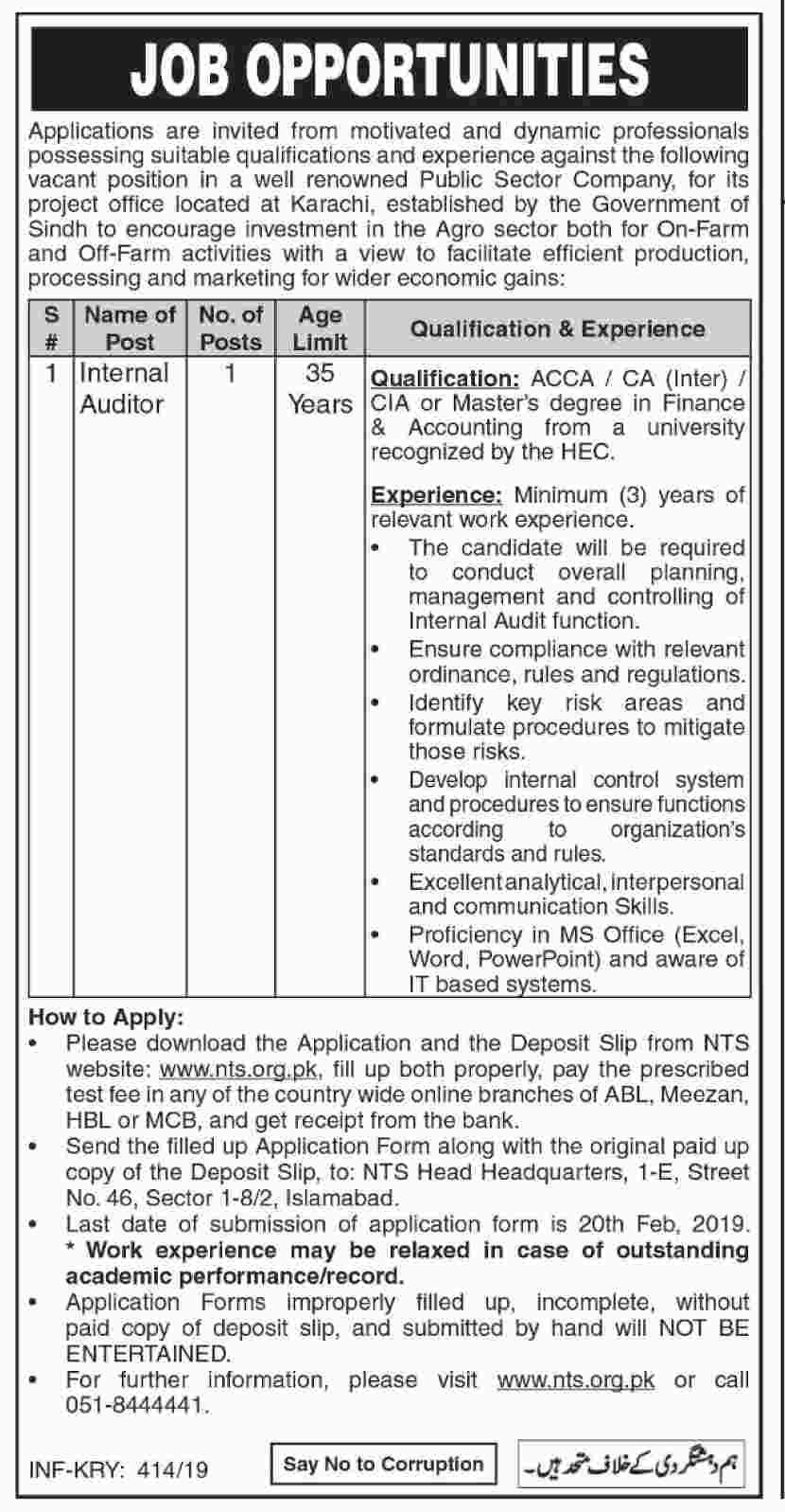 NTS Public Sector Organization Karachi Jobs 30 Jan 2019