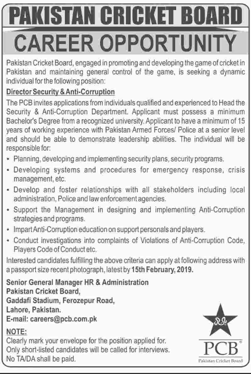Pakistan Cricket Board PCB 30 Jan 2019 Jobs