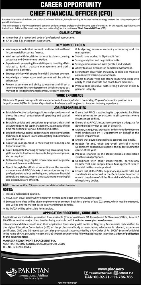 Pakistan International Airlines PIA Jobs 26 Jan 2019