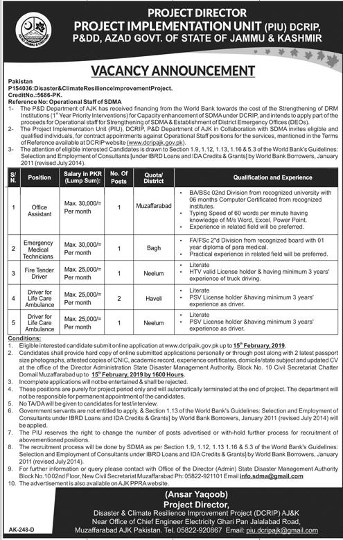 Planning And Development Department Azad Kashmir Jobs 30 Jan 2019