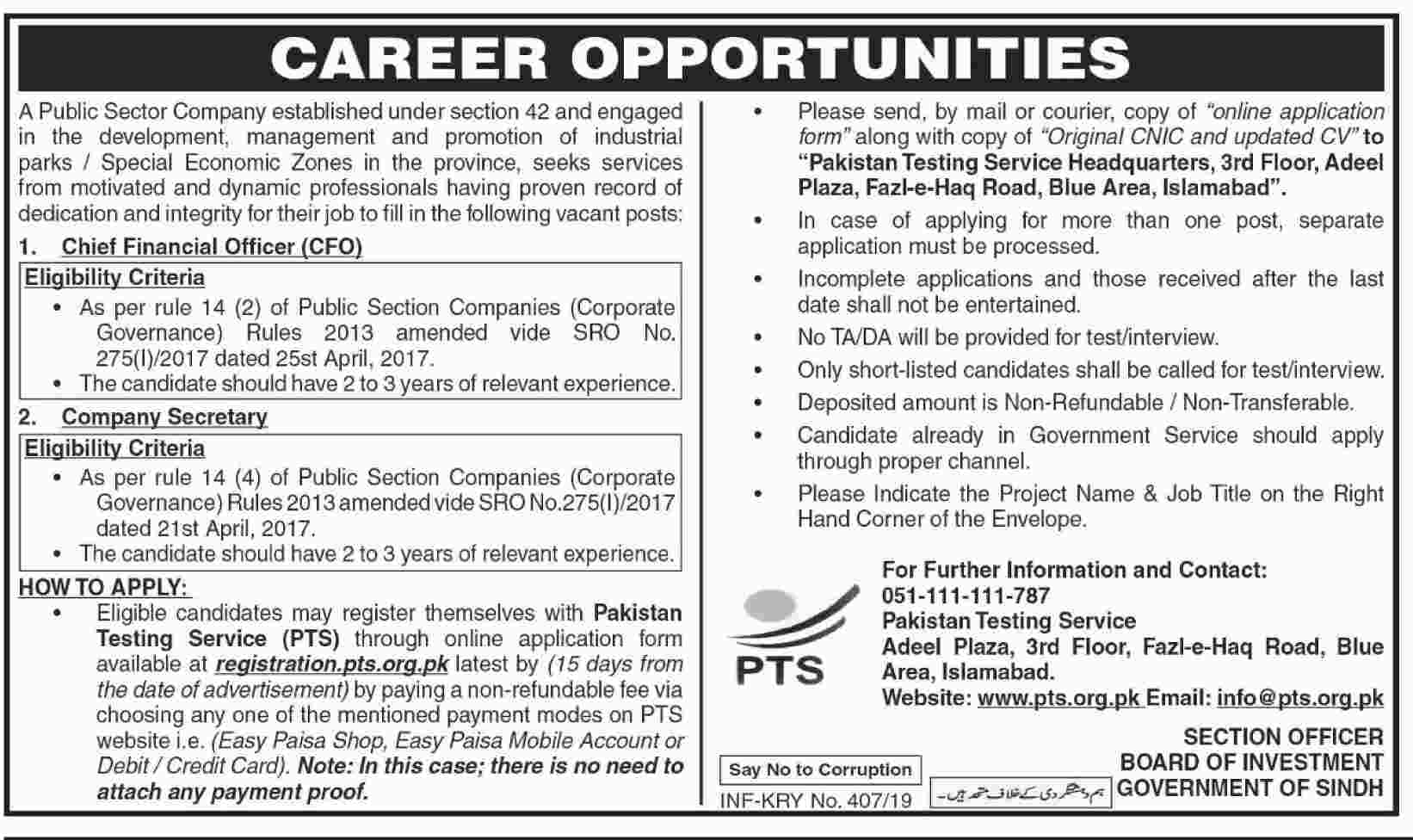 Board Of Investment Govt Of Sindh PTS Jobs 28 Jan 2019