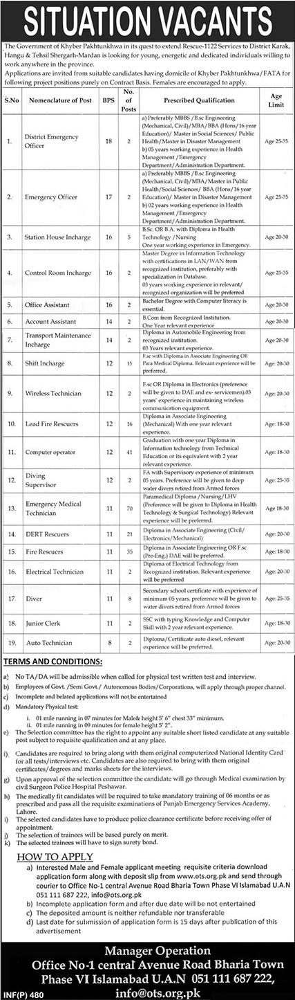 OTS Rescue 1122  Khyber Pakhtunkhwa Jobs 31 Jan 2019