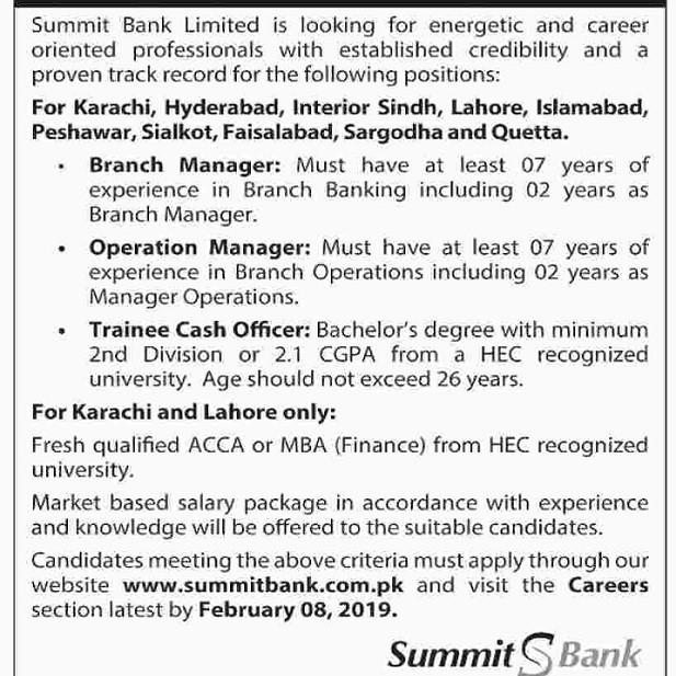 Summit Bank Limited SBL Jobs 2019
