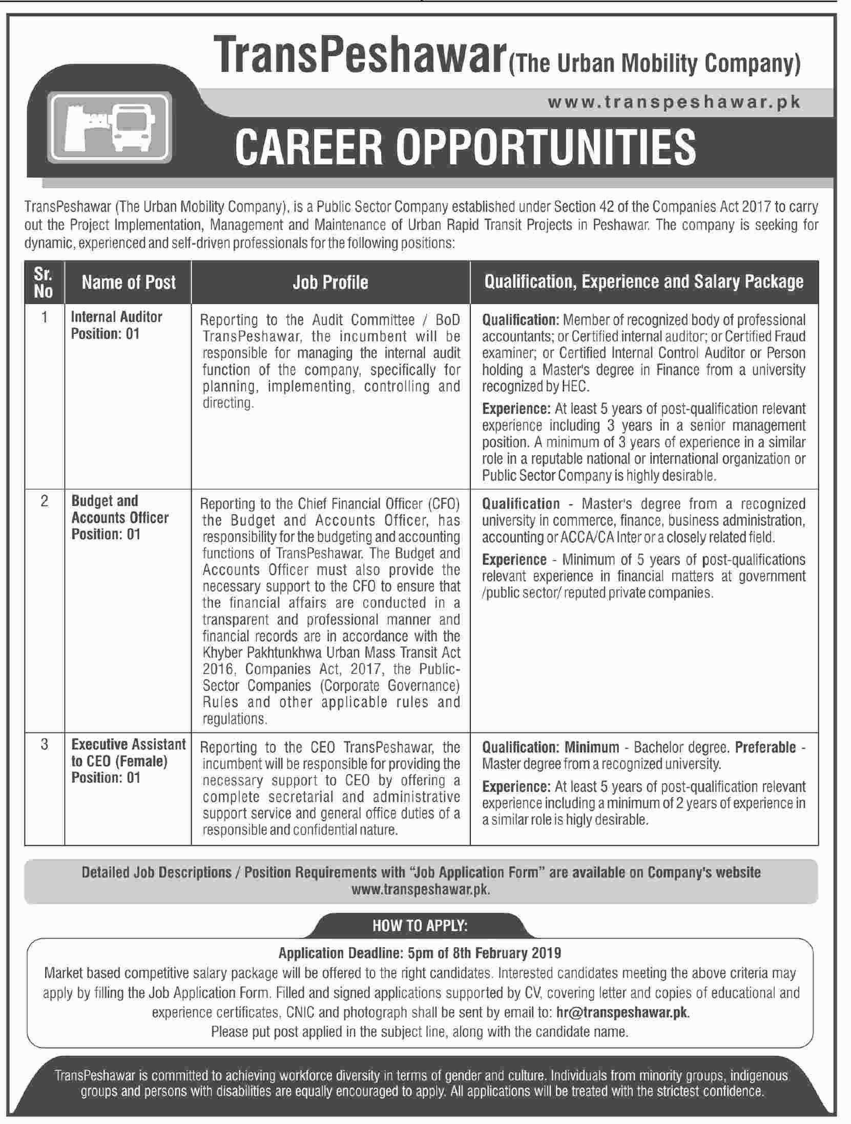Trans Peshawar The Urban Mobility Company 24 Jan 2019 Jobs