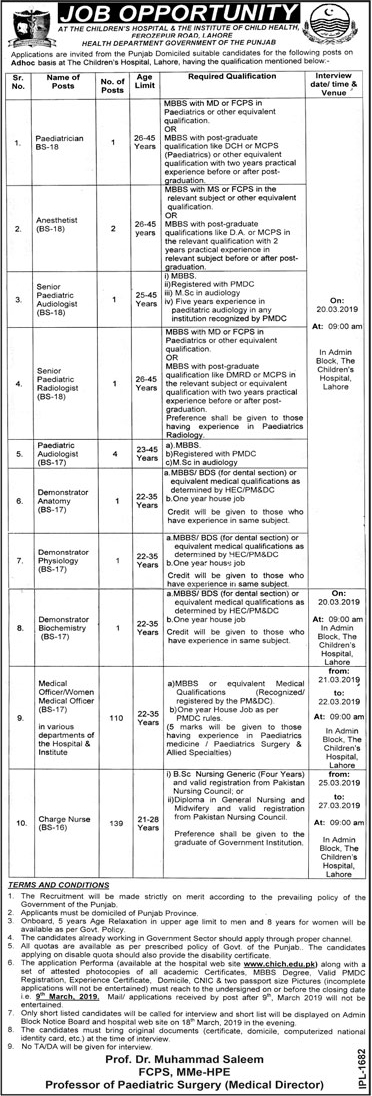 Children Hospital And Institute Of Child Health Jobs 22 Feb 2019