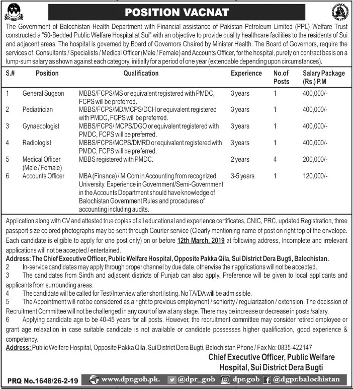 Health Department Govt of Balochistan jobs 2019