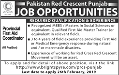 Pakistan Red Crescent Society Jobs 16 Feb 2019
