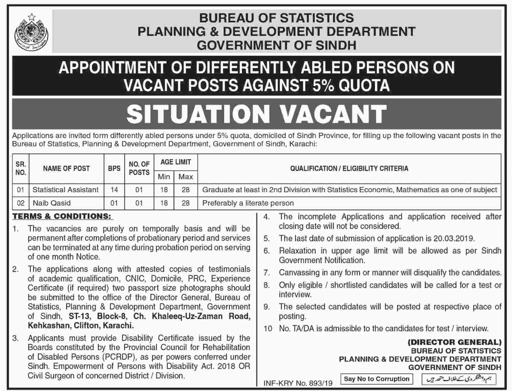 Planning And Development Department Govt Of Sindh Jobs 23 Feb 2019