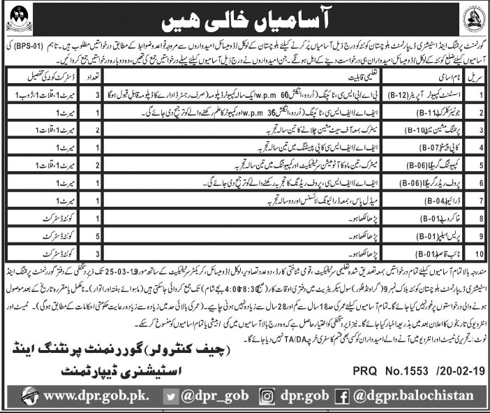 Printing And Stationery Department Balochistan Jobs 21 Feb 2019