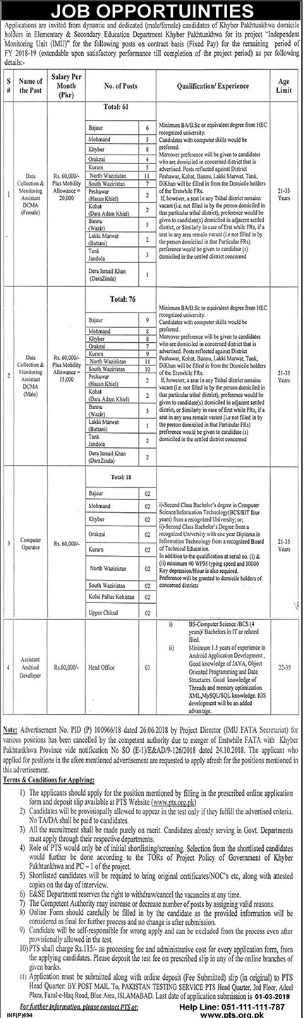 PTS  Elementary And Secondary Education Department Jobs 16 Feb 2019