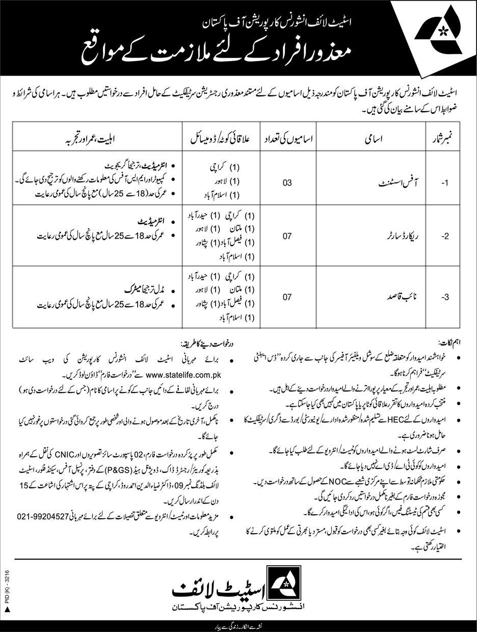 State Life Insurance Corporation Of Pakistan Jobs 26 Feb 2019