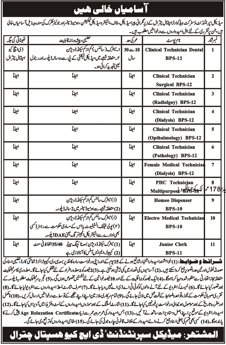 District Headquarters Hospital jobs 2019