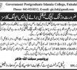 Govt Postgraduate Islamia College Faisalabad Jobs 18 Mar 2019