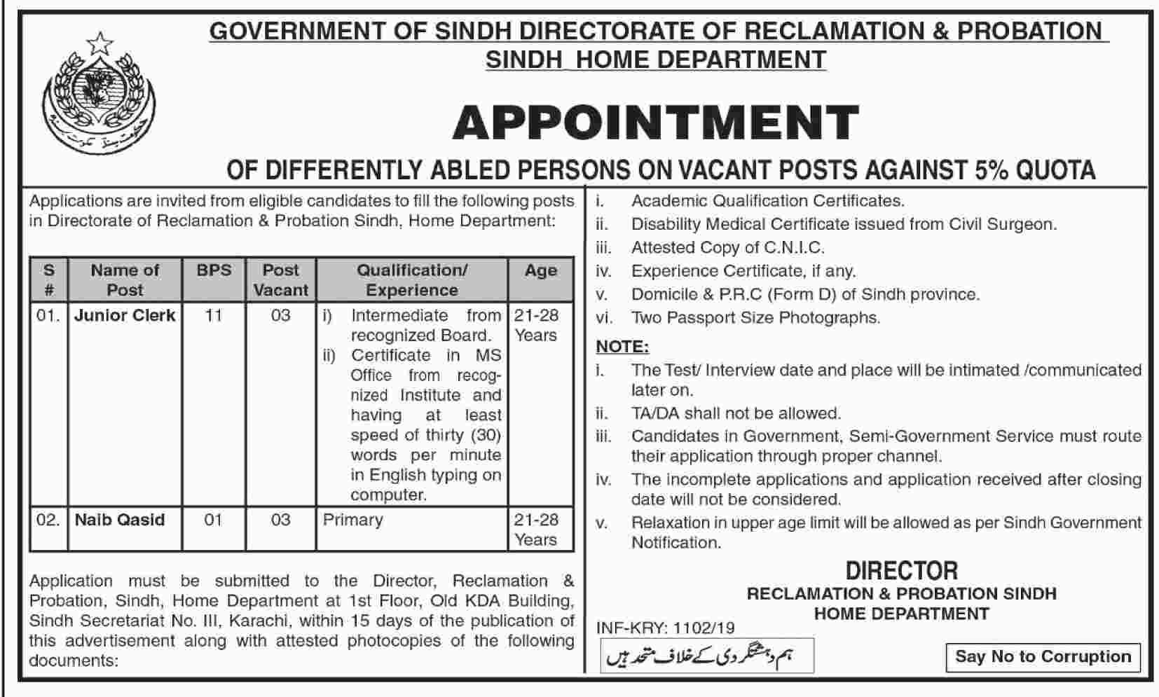 Home Department Govt Of Sindh Jobs 06 Mar 2019 - Prepistan Jobs