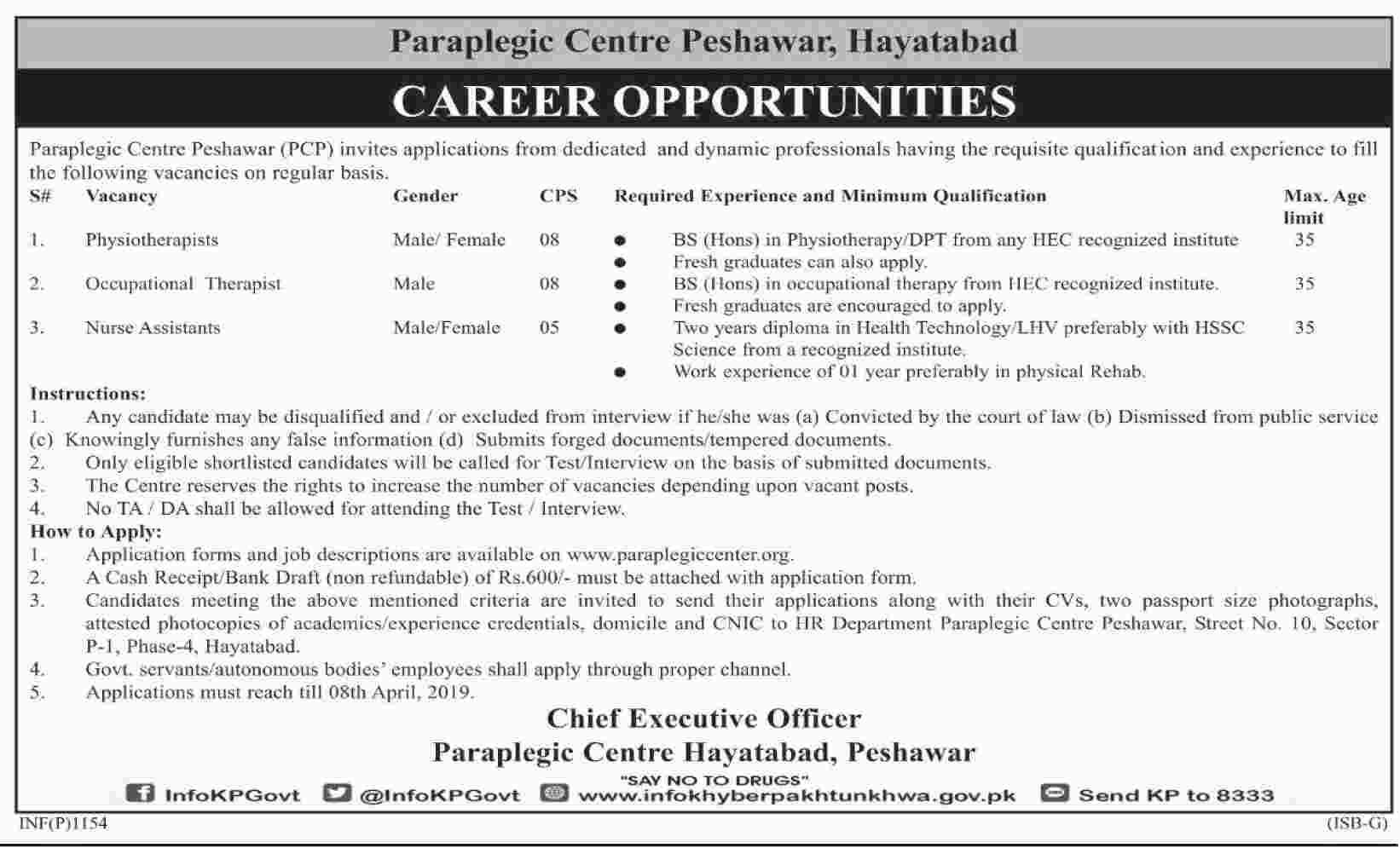 Paraplegic Centre Peshawar jobs 2019