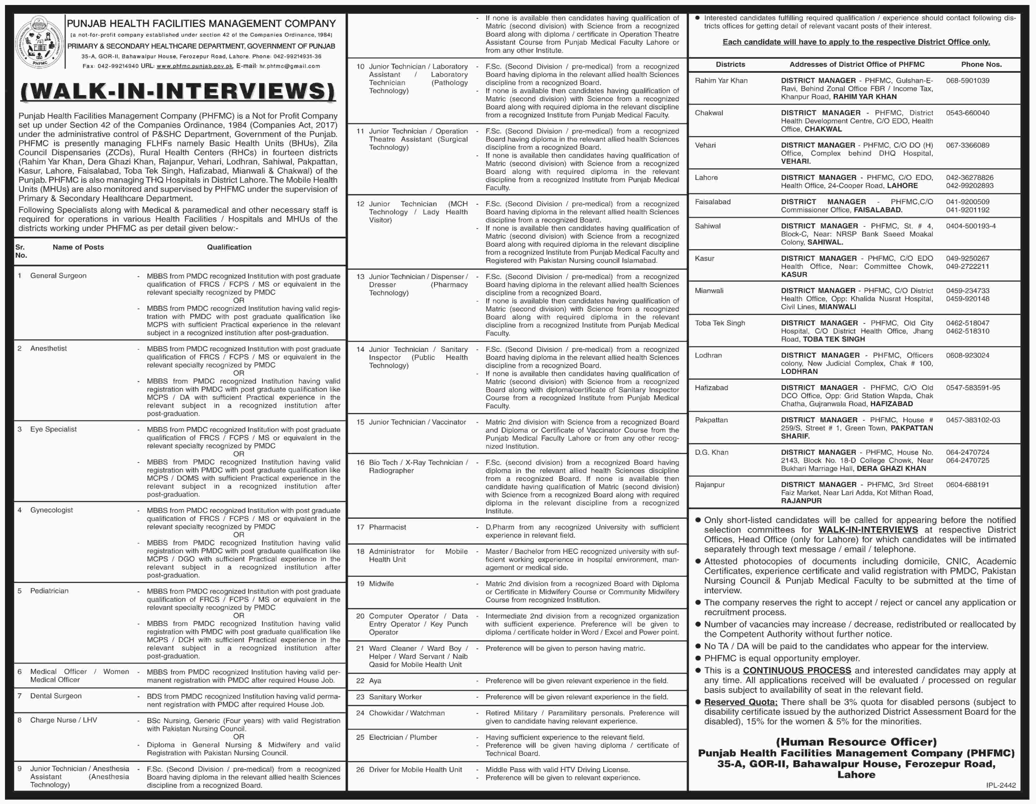 Primary And Secondary Healthcare Department Jobs 21 Mar 2019