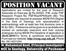 University of Peshawar jobs 2019