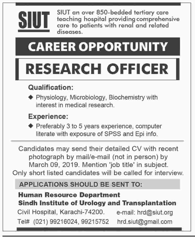 Sindh Institute of Urology and Transplantation jobs 2019