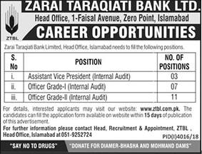 Zarai Taraqiati Bank Limited Jobs 01 Mar 2019