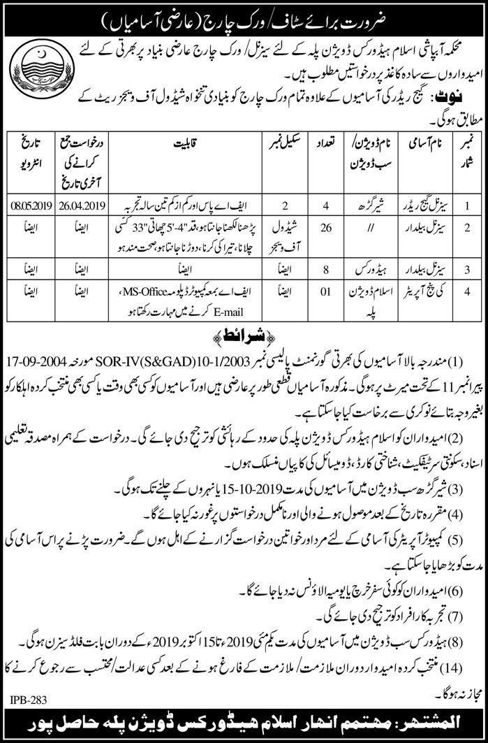 Irrigation Department Govt Of The Punjab Jobs 13 Apr 2019