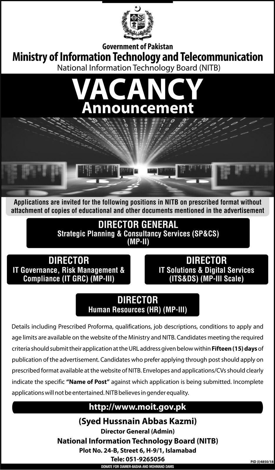 Ministry of Information Technology Govt of Pakistan jobs 2019