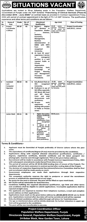 Population Welfare Department Govt of Punjab jobs 2019