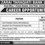 Zarai Taraqiati Bank Limited Jobs 28 Apr 2019