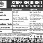 Cadet College Sargodha Jobs 30 May 2019