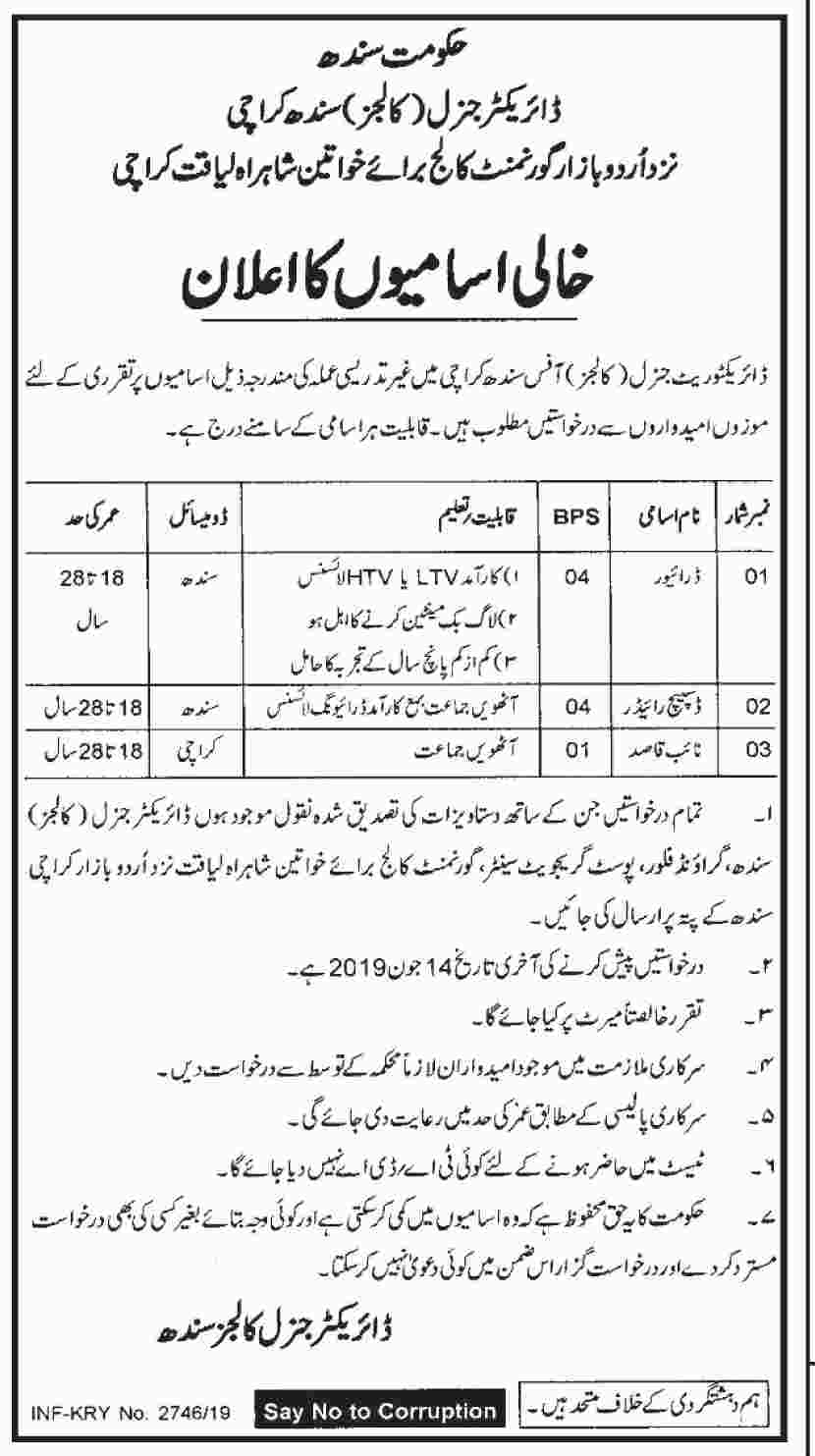 Education Department Govt of Sindh jobs 2019