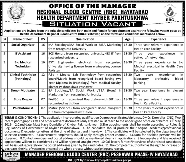 Health Department Govt Of KPK Jobs 18 May 2019 - Prepistan Jobs